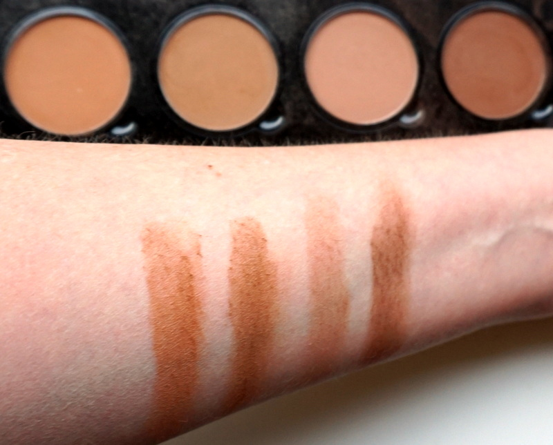 NYX Highlight & Contour Pro Palette Swatches untere Reihe / dunkle Farben - Highendlove