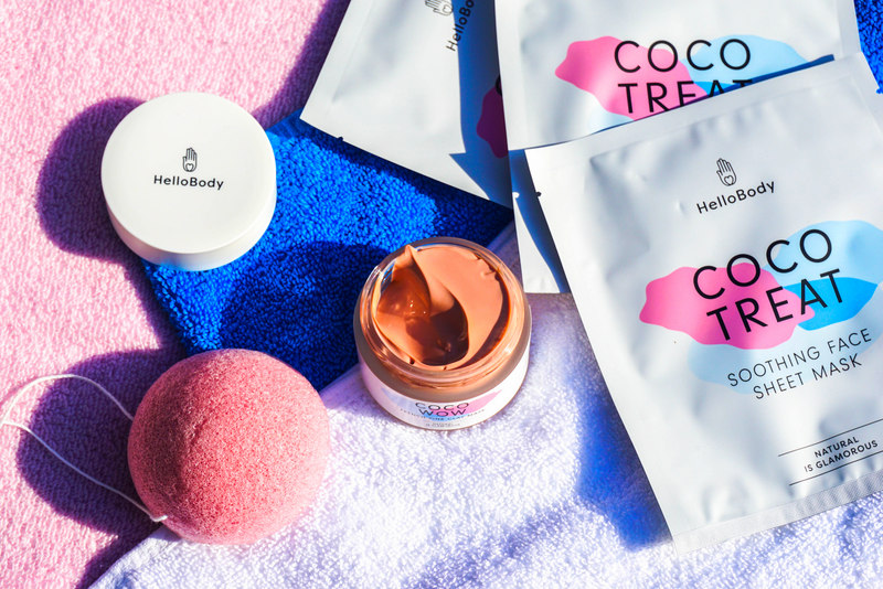 HELLOBODY Coco Treat Soothing Face Sheet Mask & Coco Wow French Pink Clay Mask & Konjac Cleansing Sponge - Highendlove
