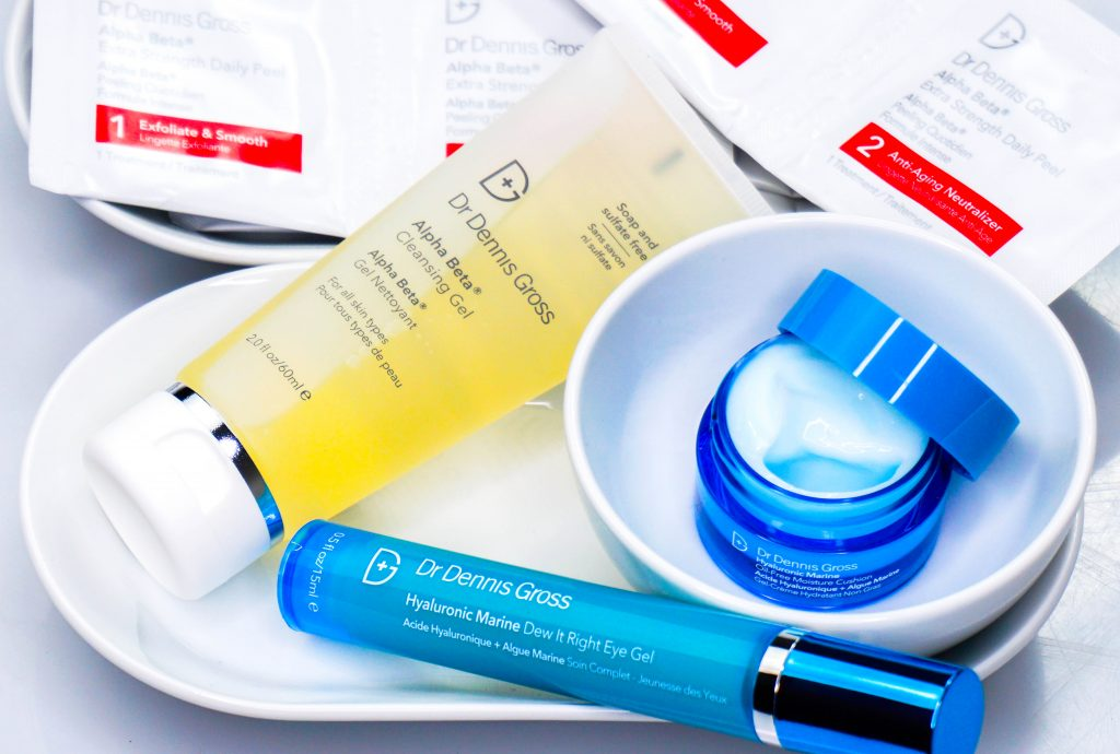 DR. DENNIS GROSS Alpha Beta Cleansing Gel & Daily Peel & Hyaluronic Marine Eye Gel & Moisture Cushion